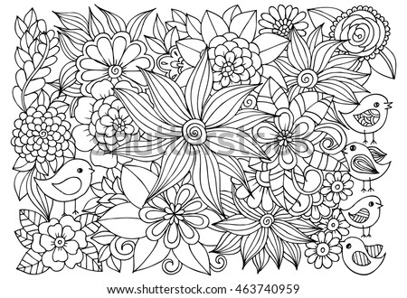 Vector Coloring Page Of Floral Pattern And Birds Doodle Flowers For Adult Anti Stress
