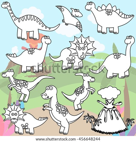 Vector Coloring Page of Line Art Dinosaurs and a Volcano - stock vector