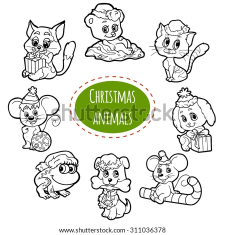 Vector colorless set of Christmas cute animals, cartoon collection, coloring page with little animals - stock vector
