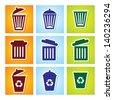 vector Colourful recycle garbage can - stock photo