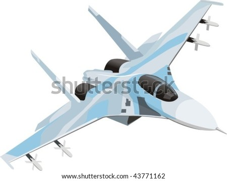 vector combat aircraft - stock vector
