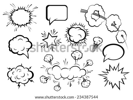 Vector comic boom or blast explosions and comic  effects set - stock vector