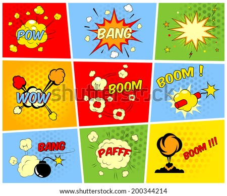 Vector comic boom or blast explosions and comic sound effects set - stock vector