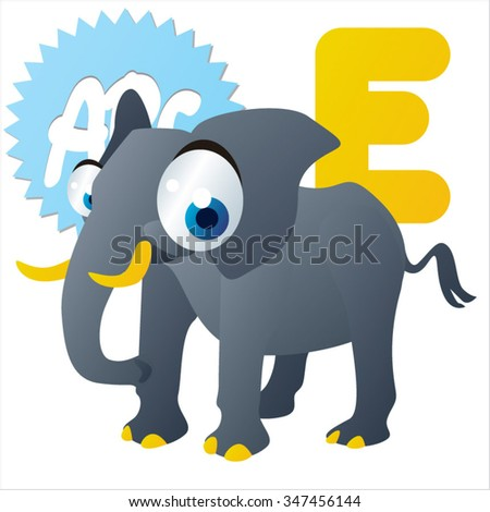 vector comic cartoon cute funny animal alphabet: E is for Elephant. Illustration for kids books, cards, games, mobile apps and much more - stock vector
