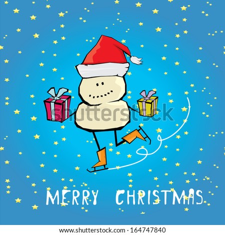 Vector comic cartoon merry christmas illustration with snowman. vector merry christmas and happy new year vintage star paper background for greeting card or banner design - stock vector