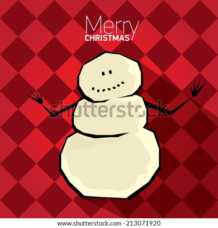 Vector comic cartoon merry christmas illustration with snowman. vector merry christmas and happy new year  red background for greeting card or banner design - stock vector