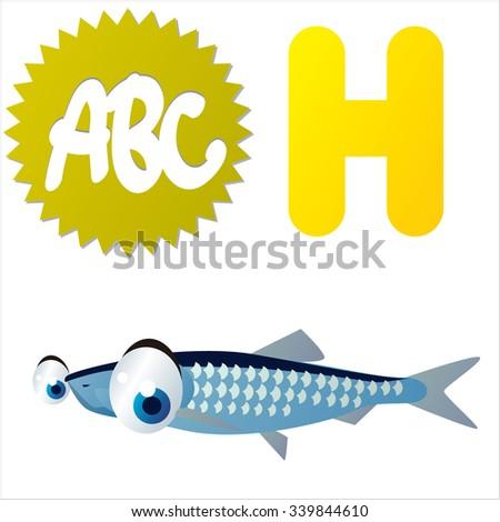 Vector comic funny cartoon animals alphabet: H is for Herring - stock vector