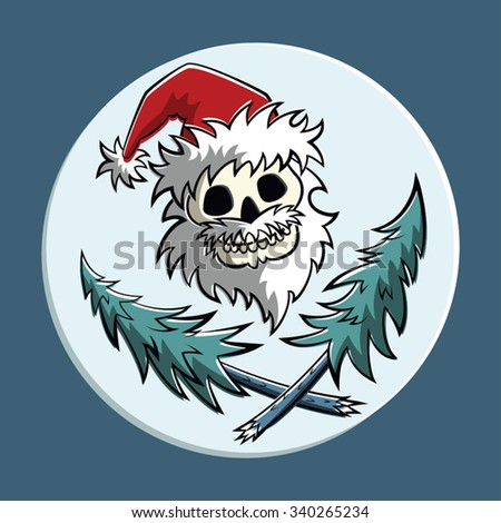 Vector comic pirat symbol: a skull with beard in Santa Claus hat with two crossed christmas trees. Square format. - stock vector