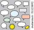 Vector comics speech bubbles illustration - stock photo