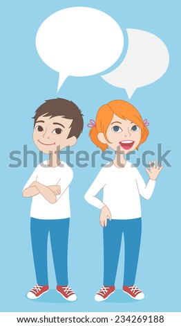 Vector comics style cartoon illustration. Two caucasian kids, boy and girl full length characters portrait, standing and smiling, wearing jeans and white t-shirts, with speaking bubbles - stock vector