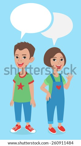 Vector comics style cartoon illustration. Two caucasian kids, boy and girl full length characters portrait, standing and smiling, wearing jeans and t-shirts, with speaking bubbles - stock vector