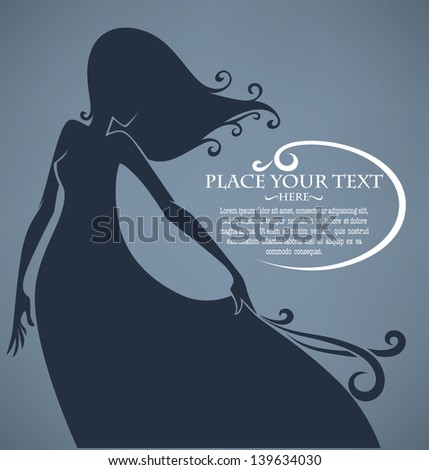 vector commercial background with girl silhouette - stock vector