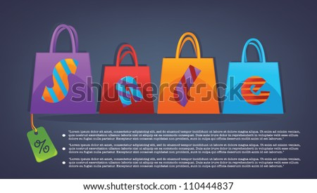 vector commercial background with shopping bags