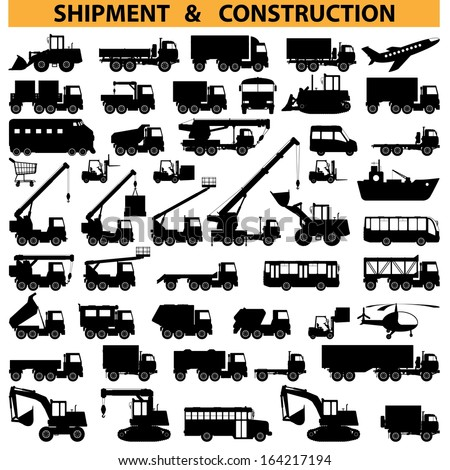 Vector commercial vehicles pictograms - stock vector