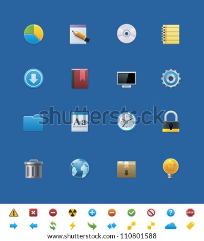 Vector common website icons for webmasters - stock vector