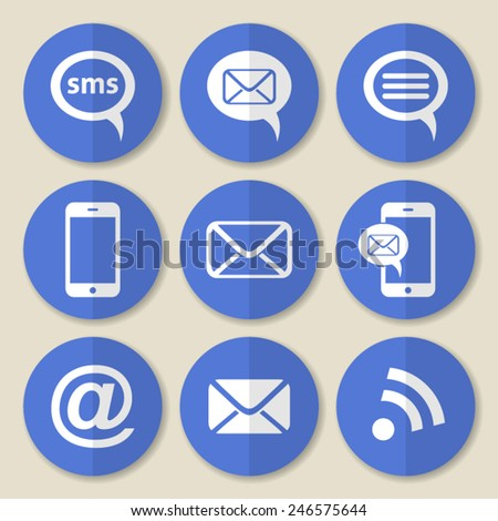 Vector communication flat icons on round blue buttons