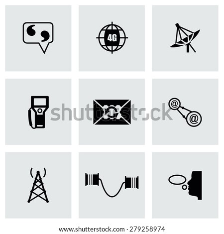 Vector Communication icon set on gray background - stock vector