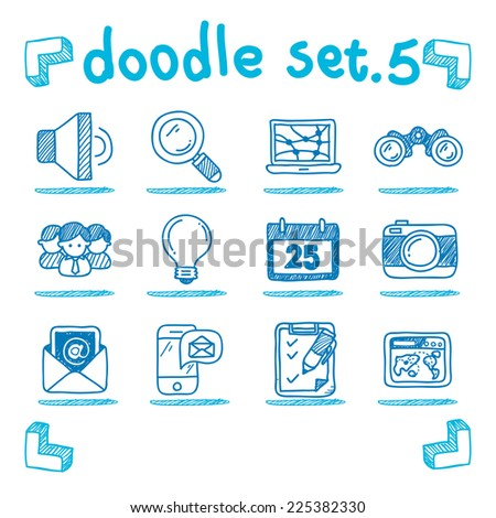 vector communication & internet icon set doodle style - stock vector