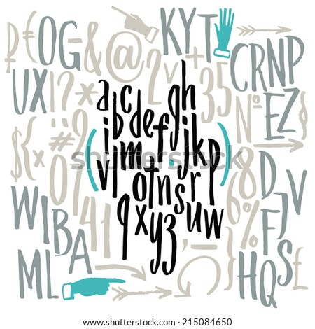 Vector compact font. Hand drawn letters. Letters of the alphabet written with a brush. - stock vector