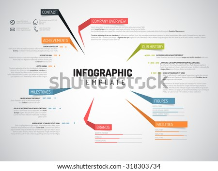 Vector Company infographic overview design template with colorful labels - stock vector