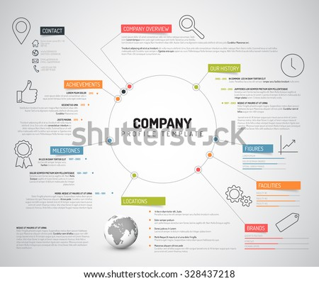 Vector Company infographic overview design template with colorful labels and icons - stock vector