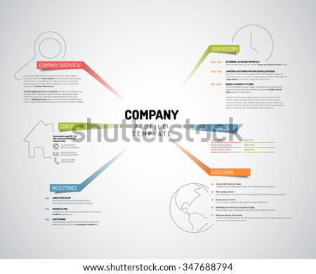 Vector Company infographic overview design template with colorful labels - light version - stock vector