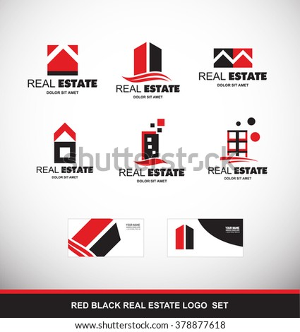 Vector company logo icon element template abstract real estate red black property house building skyscraper home house roof stylized residential realtor realty