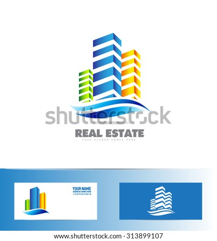 Vector company logo icon element template building skyscraper real estate 3d