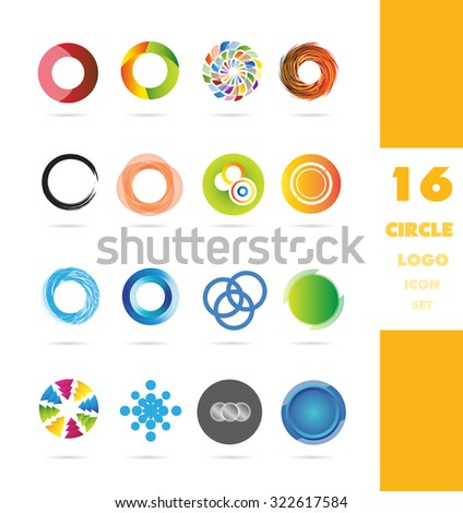 Vector company logo icon element template corporate business circle set colors