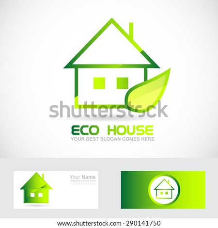 Vector company logo icon element template eco house real estate green leaf