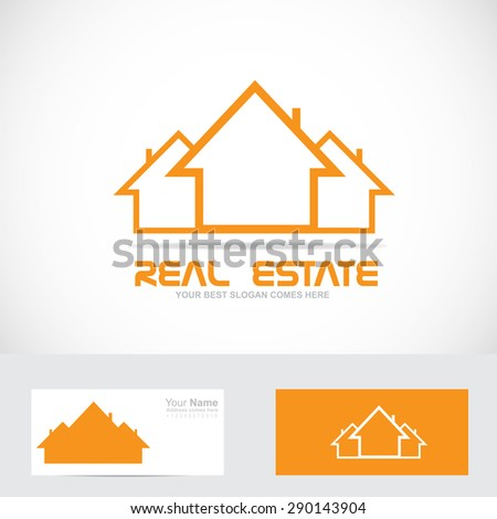 Vector company logo icon element template real estate orange house shape