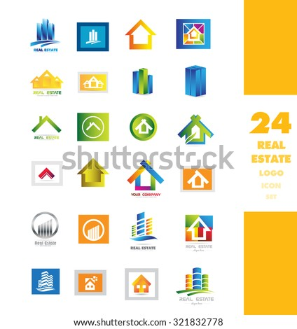 Vector company logo icon element template real estate realty set abstract