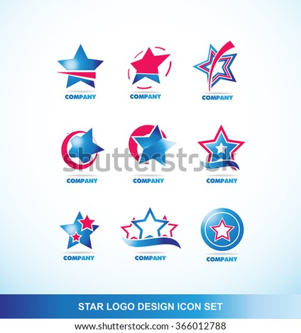 Vector company logo icon element template star blue red corporate business media it - stock vector