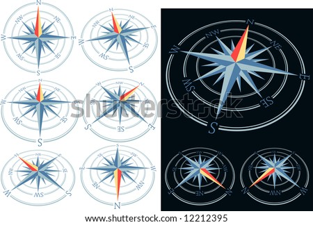 vector compass in nine positions - stock vector