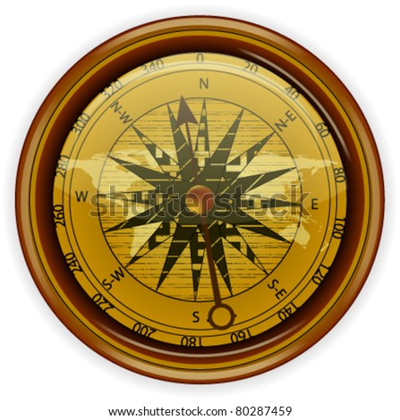 Vector Compass Isolated on white