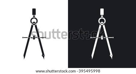 Vector compass tool icon. Two-tone version on black and white background - stock vector