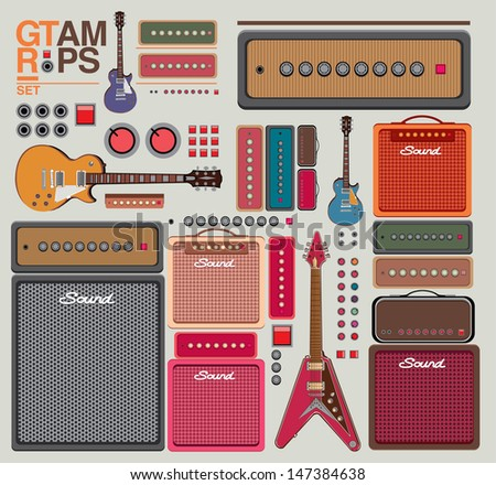 vector compilation guitar and amplifier - stock vector