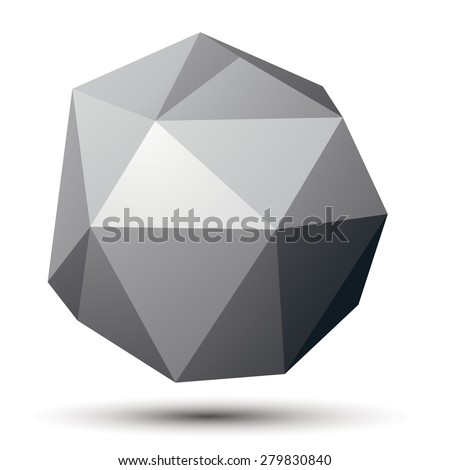 Vector complicated 3d figure, modern digital technology style form. Abstract unusual gray three-dimensional object.  - stock vector