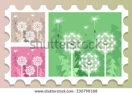 Vector composition of white, summer dandelions on different backgrounds. - stock vector
