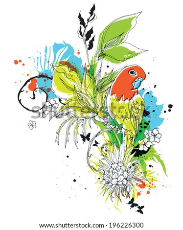 Vector composition with birds and flowers eps10 - stock vector