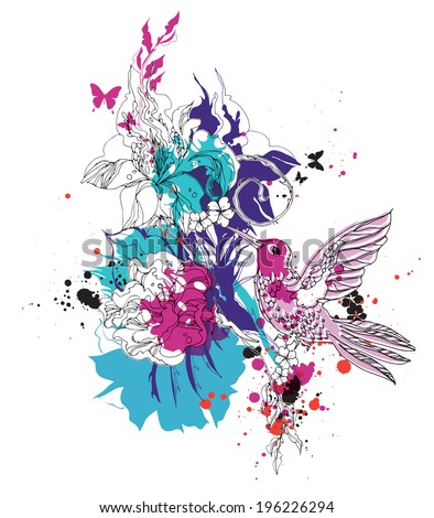 Vector composition with colibri and flowers eps10 - stock vector