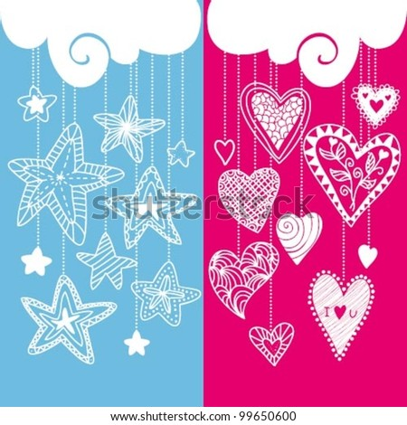 Vector composition with hearts and stars - stock vector