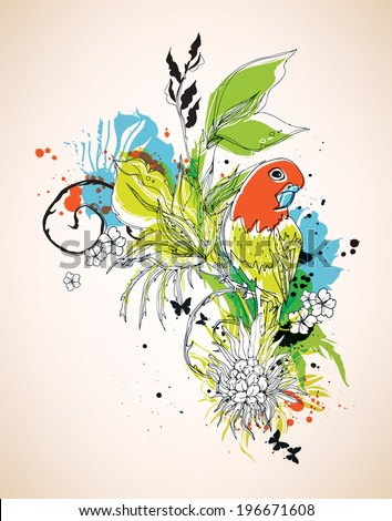 Vector composition with parrot and flowers eps10 - stock vector