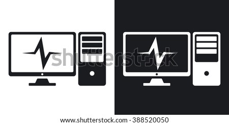 Vector computer diagnostics icon. Two-tone version on black and white background - stock vector