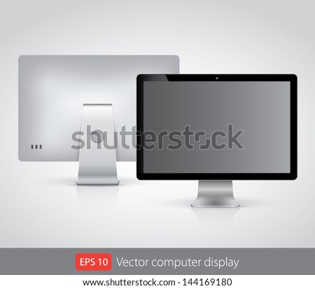Vector computer display isolated on white - stock vector