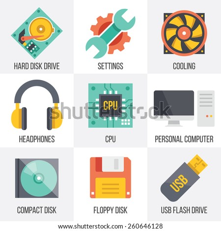 Vector computer hardware and technology icons set. Flat design. Isolated on white background. Set 10. - stock vector