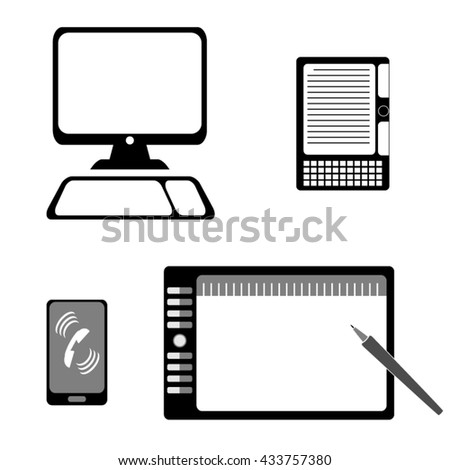 Vector computer icon set: computer, graphics tablet, e-book, mobile phone. - stock vector