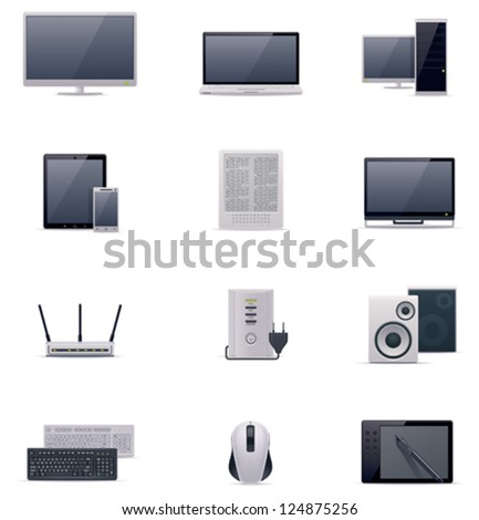 Vector computer icon set includes monitor stock vector 124875256 vector computer icon set includes monitor laptop desktop pc tablet smartphone greentooth Image collections