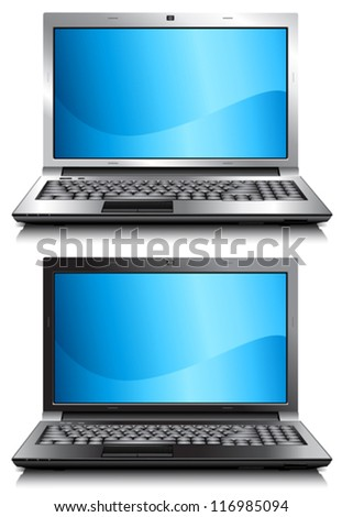 Vector computer, laptop. Black and silver. EPS 10 (simple gradients only, no gradient mesh) - stock vector