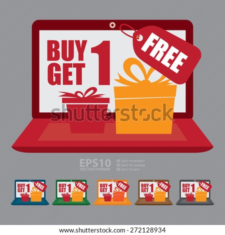 Vector : Computer Laptop With Buy 1 Get 1 Free Banner, Sign, Icon or Label - stock vector